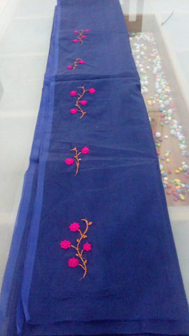 Saree-Net cotta Wit Hand embroidery works-180500015