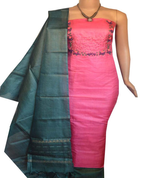 Churidar Material:- Top in   Tussar Silk , Duppata in   Tussar  Silk  and  Bottom in  Cotton Silk (Un-stitched)-180100257