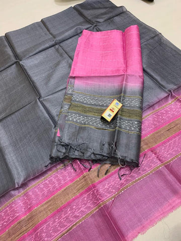 Churidar Material:- Top in   Tussar silk  , Duppata in Tussar Silk and Without   Bottom  (Un-stitched) -190100202