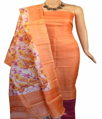 Churidar Material:- Top in   Tussar Silk , Duppata in   Tussar  Silk  and  Bottom in  Cotton Silk (Un-stitched)-180100044