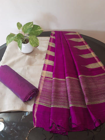 Churidar Material:-Top In Tussar Silk  Duppata in Raw Silk and  Bottom in   Cotton Silk (Un-stitched) -190100348