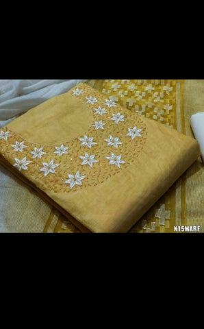 190100398A- Top (2.50mtr)  Top silk with  handwork   bottom  cotton     dupatta silk