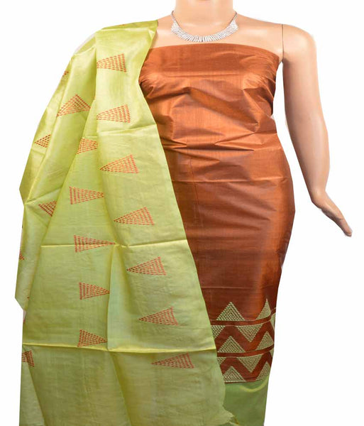 Churidar Material:- Top in   Tussar silk  , Duppata in Tussar  Silk and  Bottom in   Cotton Silk (Un-stitched) -180100376