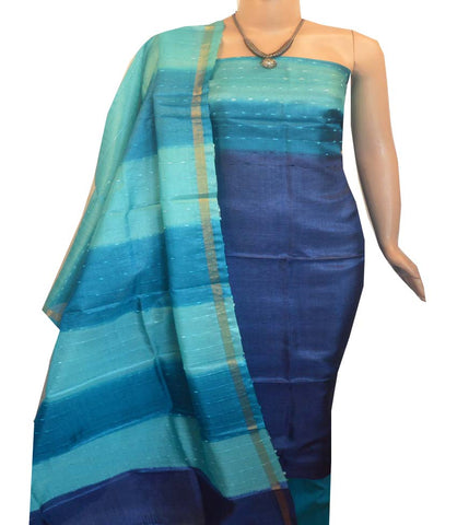 Churidar Material:- Top in   Tussar silk  , Duppata in Tussar  Silk and  Bottom in   Cotton Silk (Un-stitched) -190100048