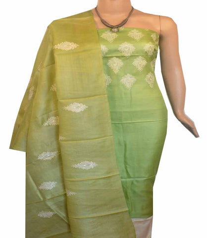 Churidar Material:- Top in  Dessy Tussar silk  , Duppata in Dessy Tussar  Silk and  Bottom in   Cotton Silk (Un-stitched) -190100014