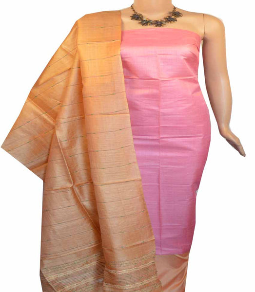Churidar Material:- Top in Tussar Silk  , Duppata Tussar Silk  and  Bottom in   Cotton Silk  (Un-stitched) - 180100465
