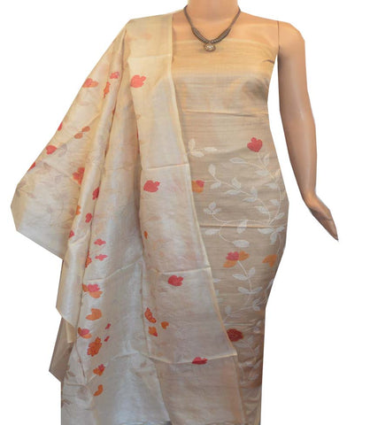 Churidar Material:- Top in  Dessy Tussar silk  , Duppata in Tussar  Silk and  Bottom in   Cotton Silk (Un-stitched) -190100049