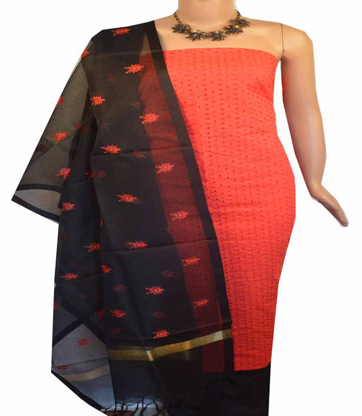 Churidar Material:- Top in  Cotton Hakoba , Duppata Semi Organza With Checks Weaving and  Bottom in   Cotton Silk  (Un-stitched) - 180100433