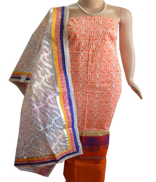 Churidar Material -Top in Cotton,Dupatta in Soft Net and Bottom in Cotton (unstiched) 140200025 - HAMALSTAR - 1