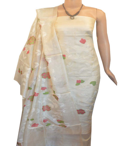 Churidar Material:- Top in   Tussar silk  , Duppata in Tussar  Silk and  Bottom in   Cotton Silk (Un-stitched) -190100050