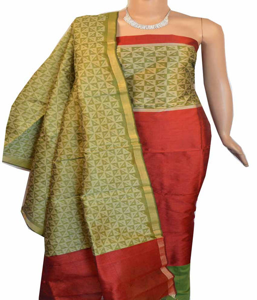 Churidar Material:- Top Mix Raw Silk Duppata in Mix Raw Silk and  Bottom in   Cotton Silk (Un-stitched) -180100337