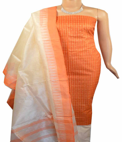Churidar Material:- Top in   Tussar silk  , Duppata in Tussar  Silk and  Bottom in   Cotton Silk (Un-stitched) -180100385