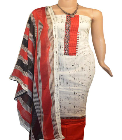 Churidar Material:- Top in   Cotton , Duppata in Crape and  Bottom in   Cotton  (Un-stitched) -190100136
