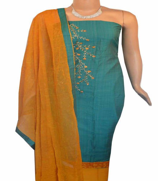 Churidar Material:- Top in  Chanderi  , Duppata in chiffon and  Bottom in   Cotton  (Un-stitched)- 180100277
