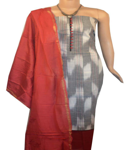 Churidar Material:- Top in   Cotton , Duppata in Chanderi  Silk and  Bottom in   Cotton  (Un-stitched) -190100275