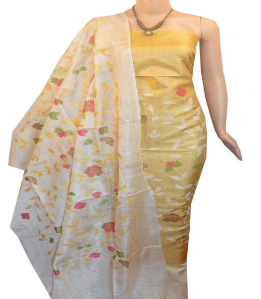 Churidar Material:- Top in   Tussar silk  , Duppata in Tussar  Silk and  Bottom in   Cotton Silk (Un-stitched) -190100053