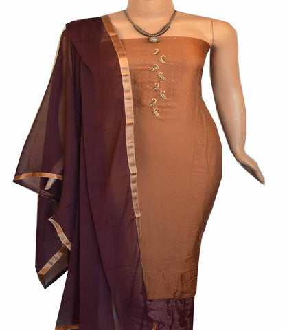 Churidar Material:- Top in Satin, Dupatta in Crape and Bottom in Cotton Silk  (Un-stitched) - 160100056