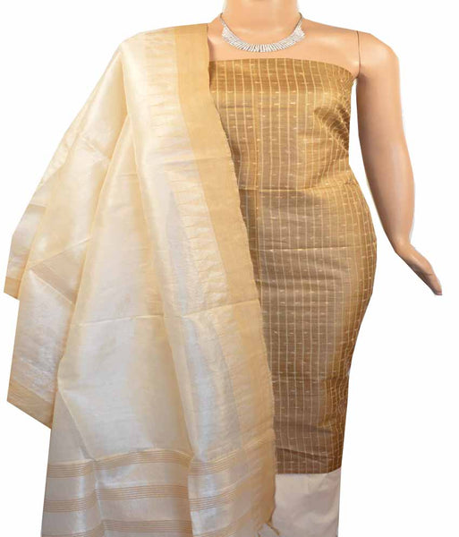 Churidar Material:- Top in   Tussar silk  , Duppata in Tussar  Silk and  Bottom in   Cotton Silk (Un-stitched) -180100387