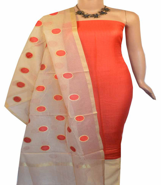 Churidar Material:- Top in  Cotton Silk , Duppata Semi Organza With Checks Weaving and  Bottom in   Cotton Silk  (Un-stitched) - 180100431