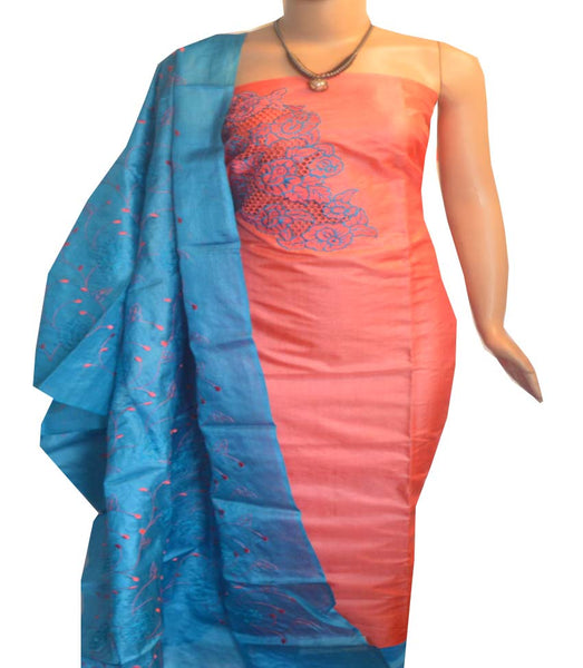 Churidar Material:- Top in   Tussar silk  , Duppata in Tussar  Silk and  Bottom in   Cotton Silk (Un-stitched) -190100037