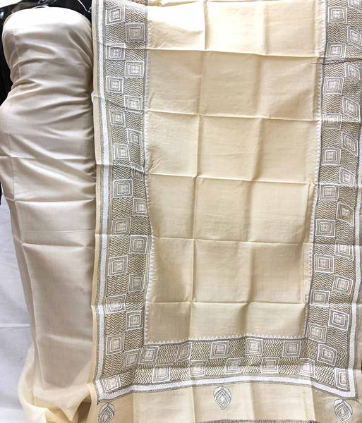 Churidar Material:- Top in Dessy Tussar Silk Duppata in Kanta  Tussar Silk and  Bottom in   Cotton Silk (Un-stitched) -180100342
