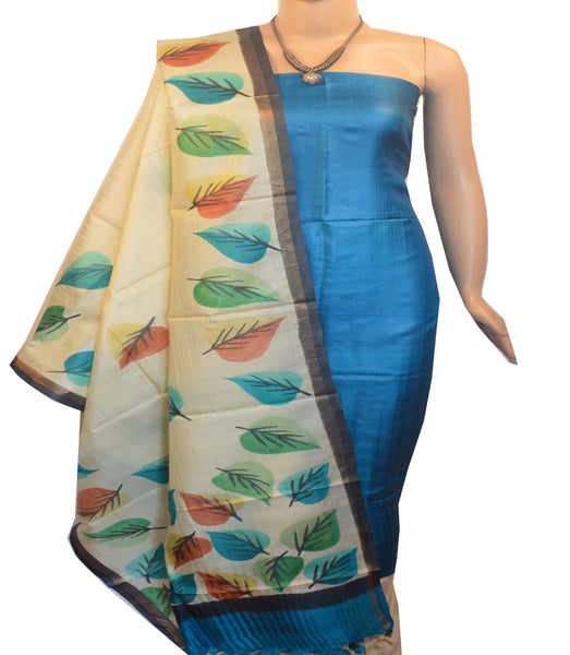 Churidar Material:- Top in   Tussar silk  , Duppata in Tussar  Silk and  Bottom in   Cotton Silk (Un-stitched) -190100039