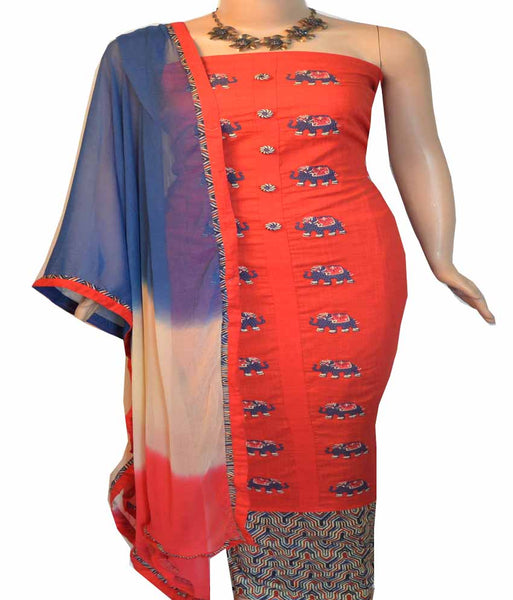 Churidar Material:- Top in   Cotton  , Duppata in  Crape and  Bottom in   Cotton  (Un-stitched) - 180100055