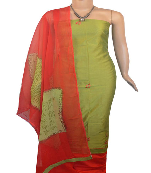 Churidar Material:- Top in   Chanderi  , Duppata in Crape and  Bottom in   Cotton  Silk (Un-stitched) -190100091