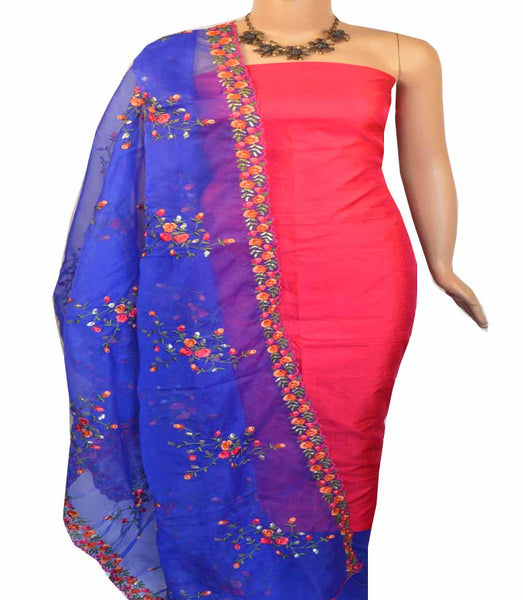 Churidar Material:- Top in Raw Silk  , Duppata  Organza and  Bottom in   Cotton Silk  (Un-stitched) - 180100442
