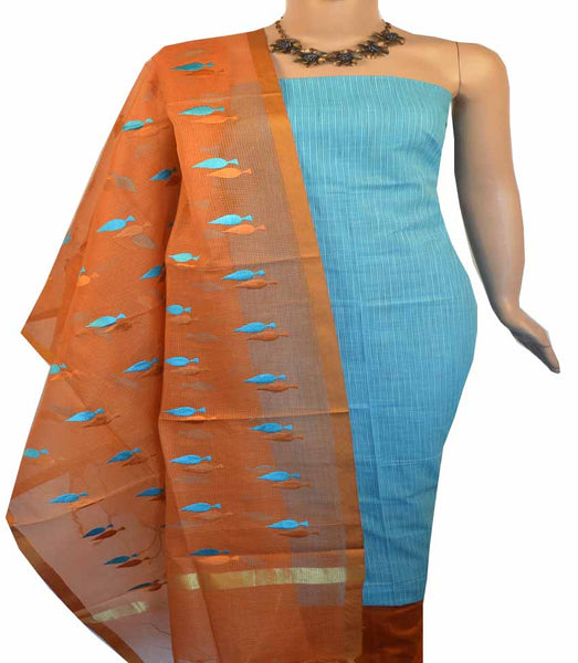 Churidar Material:- Top in   Cotton     , Duppata Semi Organza With Checks Weaving and  Bottom in   Cotton Silk  (Un-stitched) - 180100422