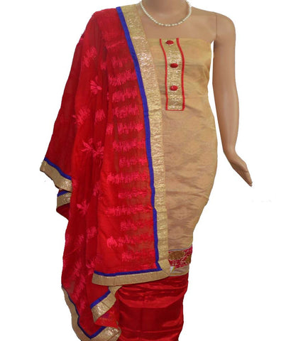 Churidar Material - Top in Soft Net Cotton,Dupatta in Crape,Bottom in Cotton Silk (Unstitiched) - 140200088 - HAMALSTAR - 1