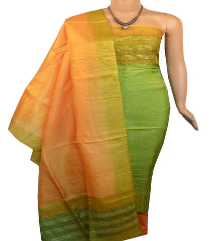 Churidar Material:- Top in   Tussar silk  , Duppata in Tussar  Silk and  Bottom in   Cotton Silk (Un-stitched) -190100145