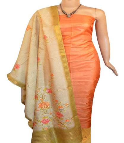 Churidar Material:- Top in   Tussar silk  , Duppata in Tussar  Viscose and  Bottom in   Cotton Silk (Un-stitched) -190100193