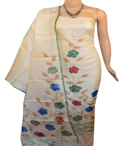 Churidar Material:- Top in   Tussar silk  , Duppata in Tussar  Silk and  Bottom in   Cotton Silk (Un-stitched) -190100182