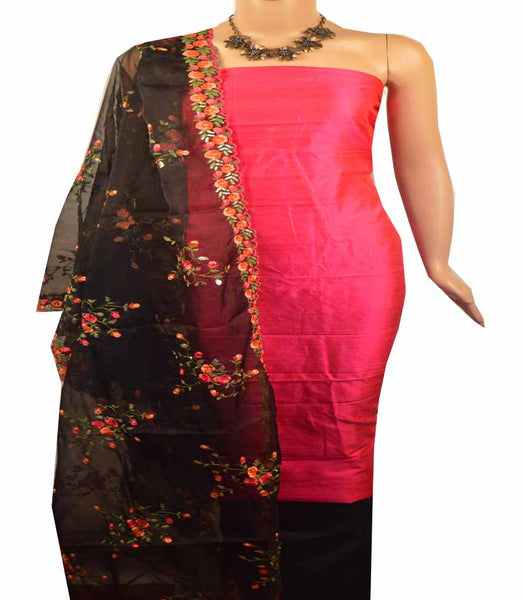 Churidar Material:- Top in Raw Silk  , Duppata  Organza and  Bottom in   Cotton Silk  (Un-stitched) - 180100441