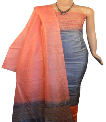 Churidar Material:- Top in   Tussar silk  , Duppata in Tussar  Silk and  Bottom in   Cotton Silk (Un-stitched) -190100146