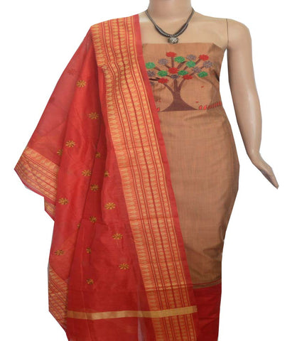 Churidar Material:- Top in   Chanderi Silk   , Duppata in Chanderi and  Bottom in   Cotton  (Un-stitched) -190100083