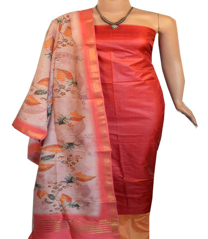 Churidar Material:- Top in   Tussar silk  , Duppata in Tussar  Viscose and  Bottom in   Cotton Silk (Un-stitched) -190100194