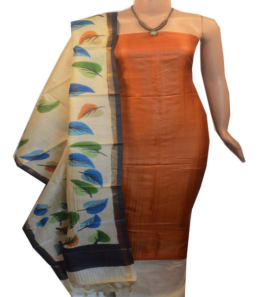 Churidar Material:- Top in   Tussar silk  , Duppata in Tussar  Silk and  Bottom in   Cotton Silk (Un-stitched) -190100040