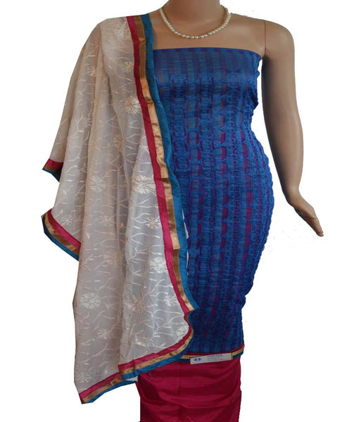 Churidar Material - Top in Soft Net Cotta, Dupatta in Crape and Bottom in Cotton Silk (Unstitiched) - 140200098 - HAMALSTAR - 1
