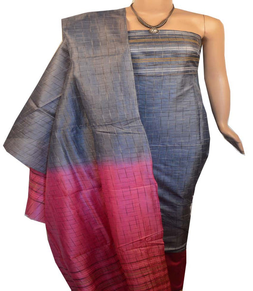 Churidar Material:- Top in   Tussar silk  , Duppata in Tussar  Silk and  Bottom in   Cotton Silk (Un-stitched) -190100147