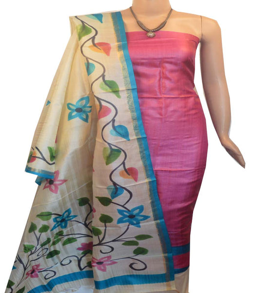 Churidar Material:- Top in   Tussar silk  , Duppata in Tussar  Silk and  Bottom in   Cotton Silk (Un-stitched) -190100041