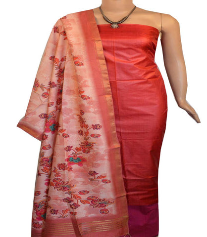 Churidar Material:- Top in   Tussar  , Duppata in Tussar  Viscose and  Bottom in   Cotton Silk (Un-stitched) -190100196