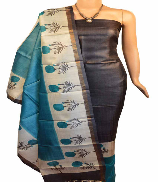 Churidar Material:- Top in  Tussar silk  , Duppata in Tussar  Silk and  Bottom in   Cotton Silk (Un-stitched) -180100508