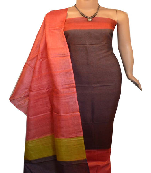 Churidar Material:- Top in   Tussar silk  , Duppata in Tussar  Silk and  Bottom in   Cotton Silk (Un-stitched) -190100139