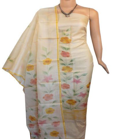 Churidar Material:- Top in   Tussar silk  , Duppata in Tussar  Silk and  Bottom in   Cotton Silk (Un-stitched) -190100183