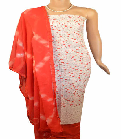 Churidar Material:- Top in    Cotton  , Duppata in Crape and  Bottom in   Cotton (Un-stitched) -180100473