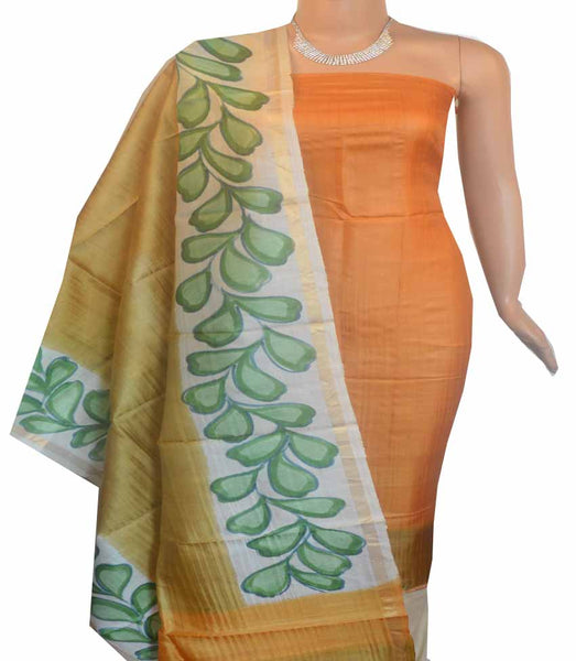 Churidar Material:- Top in   Tussar silk  , Duppata in Tussar  Silk and  Bottom in   Cotton Silk (Un-stitched) -180100396