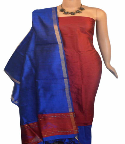 Churidar Material:-Top in Raw Silk  Duppata in Raw Silk and  Bottom in   Cotton Silk (Un-stitched) -180100414