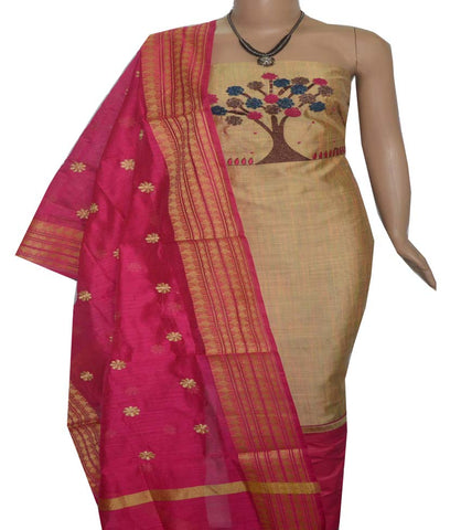 Churidar Material:- Top in   Chanderi Silk   , Duppata in Chanderi and  Bottom in   Cotton  (Un-stitched) -190100084